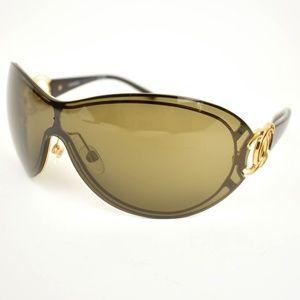 1f5034668ce4 CHANEL Gold Metal CC Logo Mirrored Sunglasses (bb)